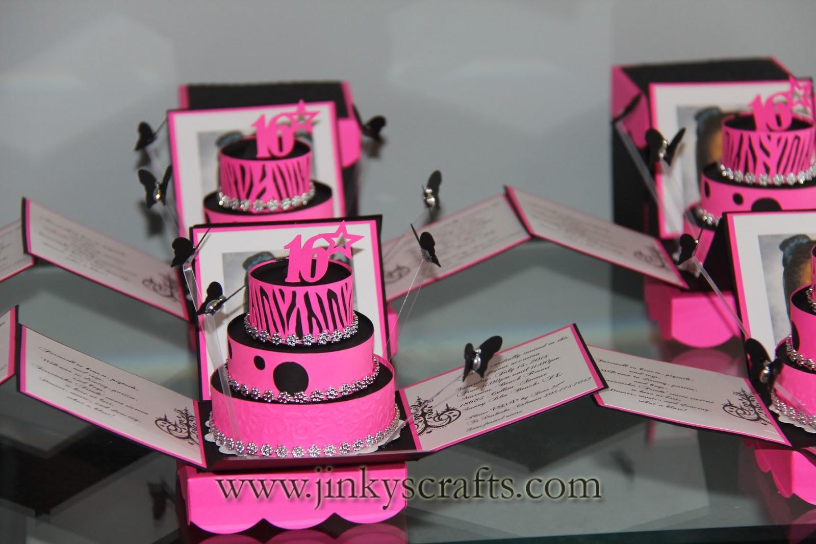 Jinky S Crafts Amp Designs Hot Pink Zebra Print Cakes Invites