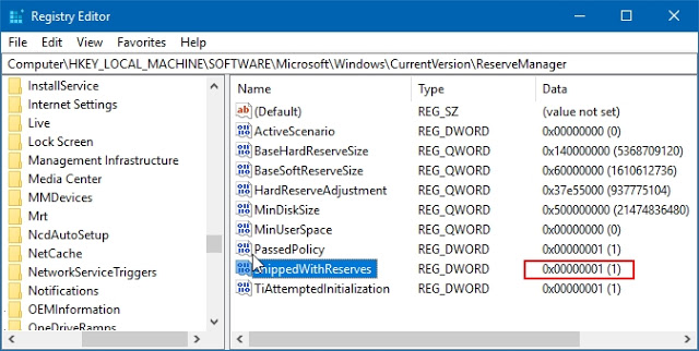 registry editor ShippedWithReserves