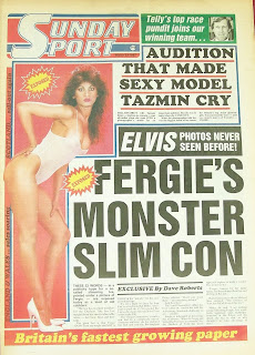 Sunday Sport newspaper front cover with photo of model Tazmin Khan