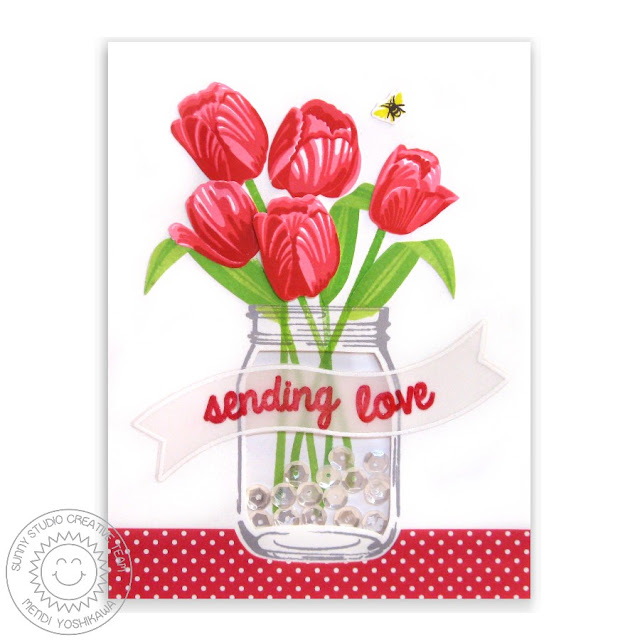 Sunny Studio Stamps: Timeless Tulips Sending Love Valentine's Day Card by Mendi Yoshikawa