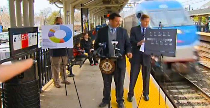 A Screen Capture From The Video Below:  U.S. Senator Richard Blumenthal Gets A Little Too Chummy With A Passing Train During Safety Talk