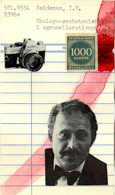 Camus Library card Camera postage stamp black and white portrait photo Dada Fluxus mail art collage