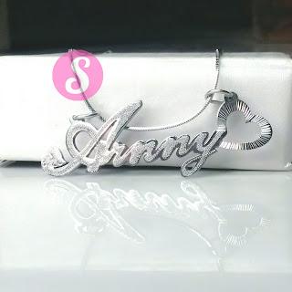 kalung nama monel silver grafir - arnny