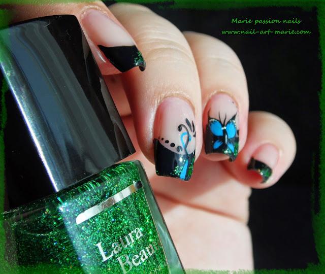 nail art french et papillon6