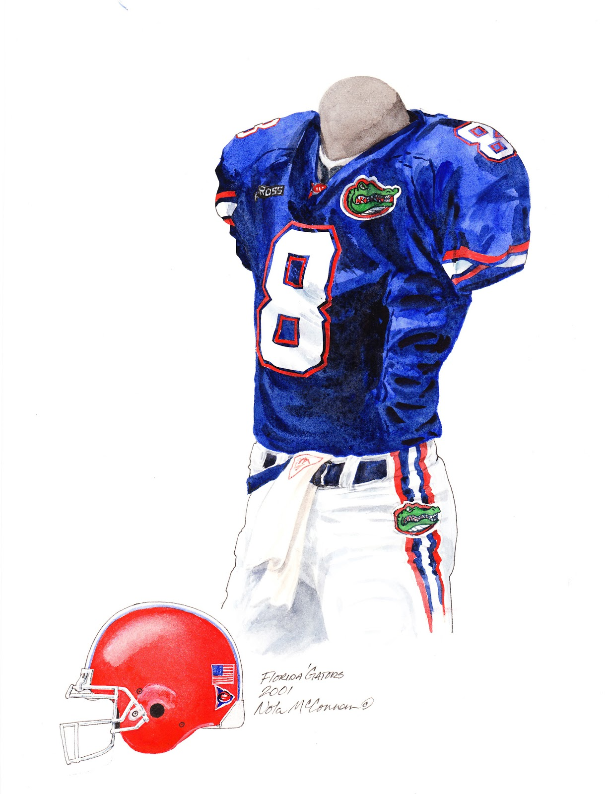 c66857ea1 2001 University of Florida Gators football uniform original art for sale