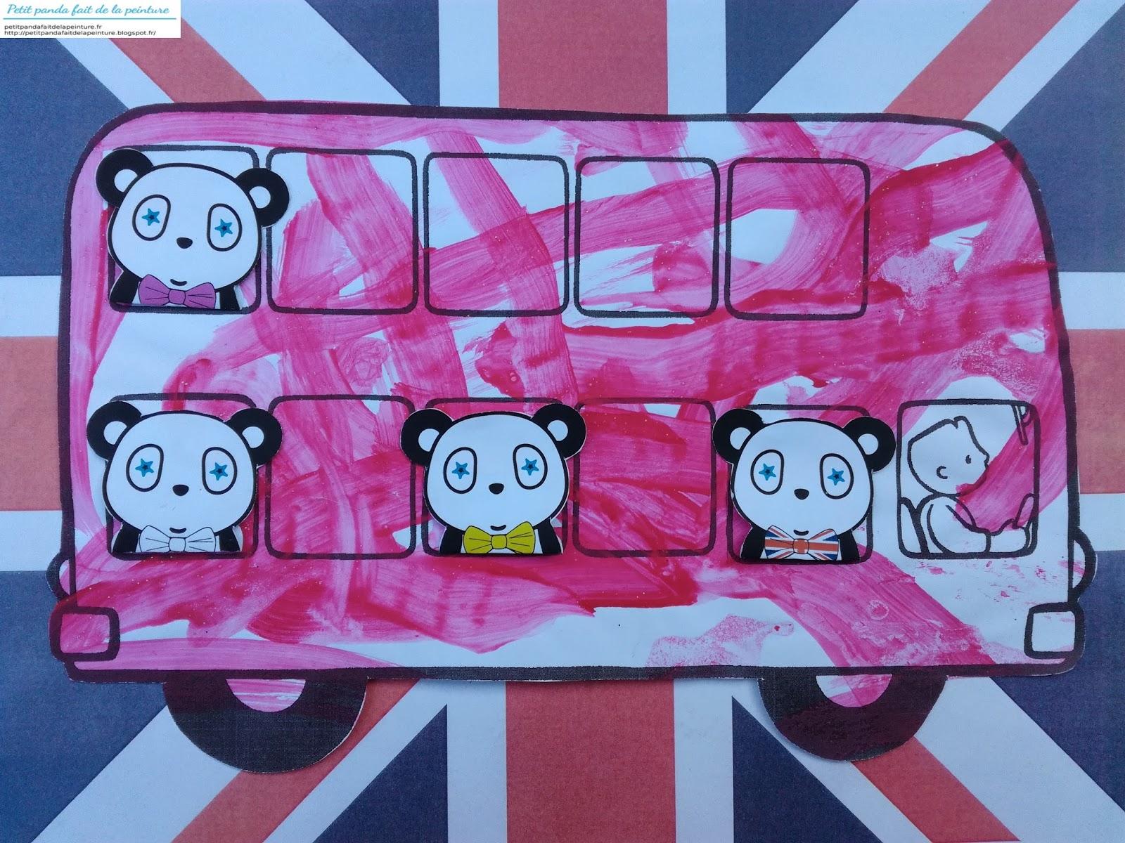 petit panda fait de la peinture theme angleterre bus. Black Bedroom Furniture Sets. Home Design Ideas