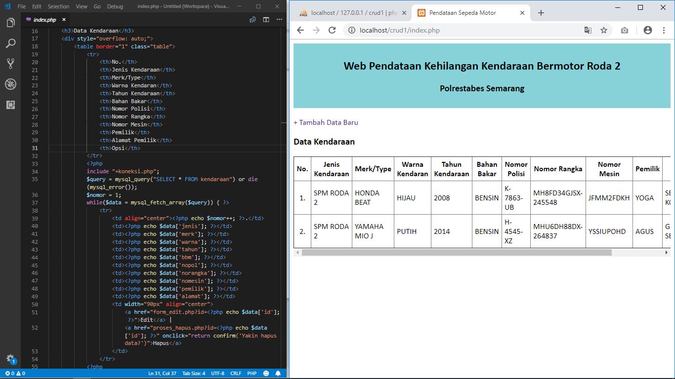 Download Source Code CRUD PHP MySQL Free | YukCoding