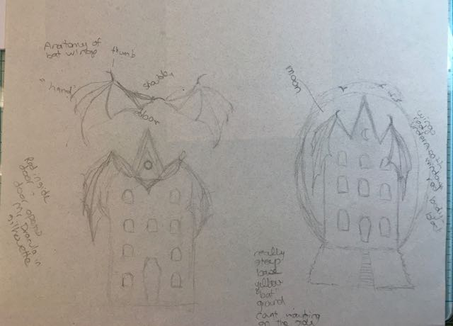 Concept drawing for the Bat Wing Halloween paper houses