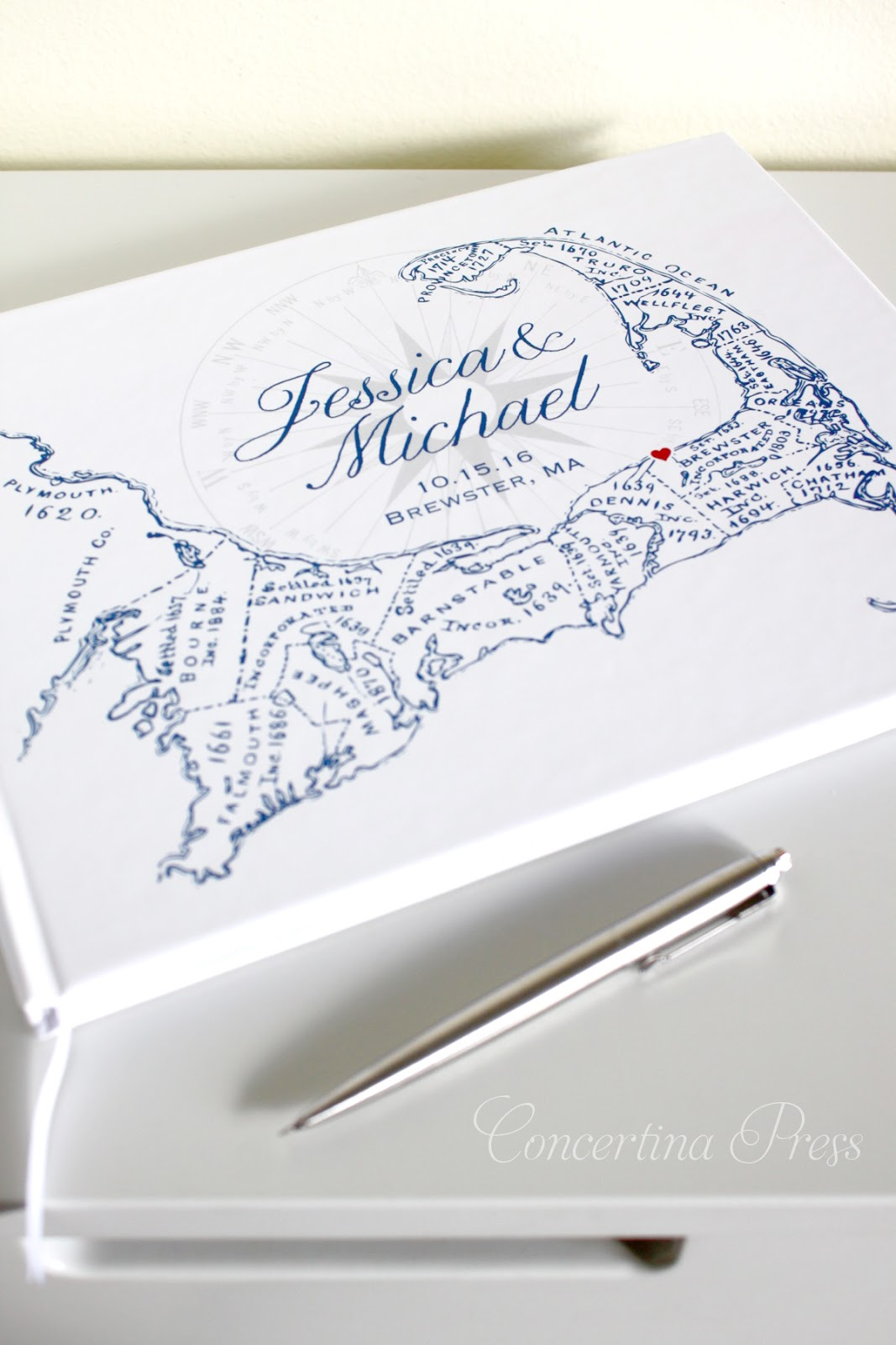 Cape Cod Map Guestbook from Concertina Press
