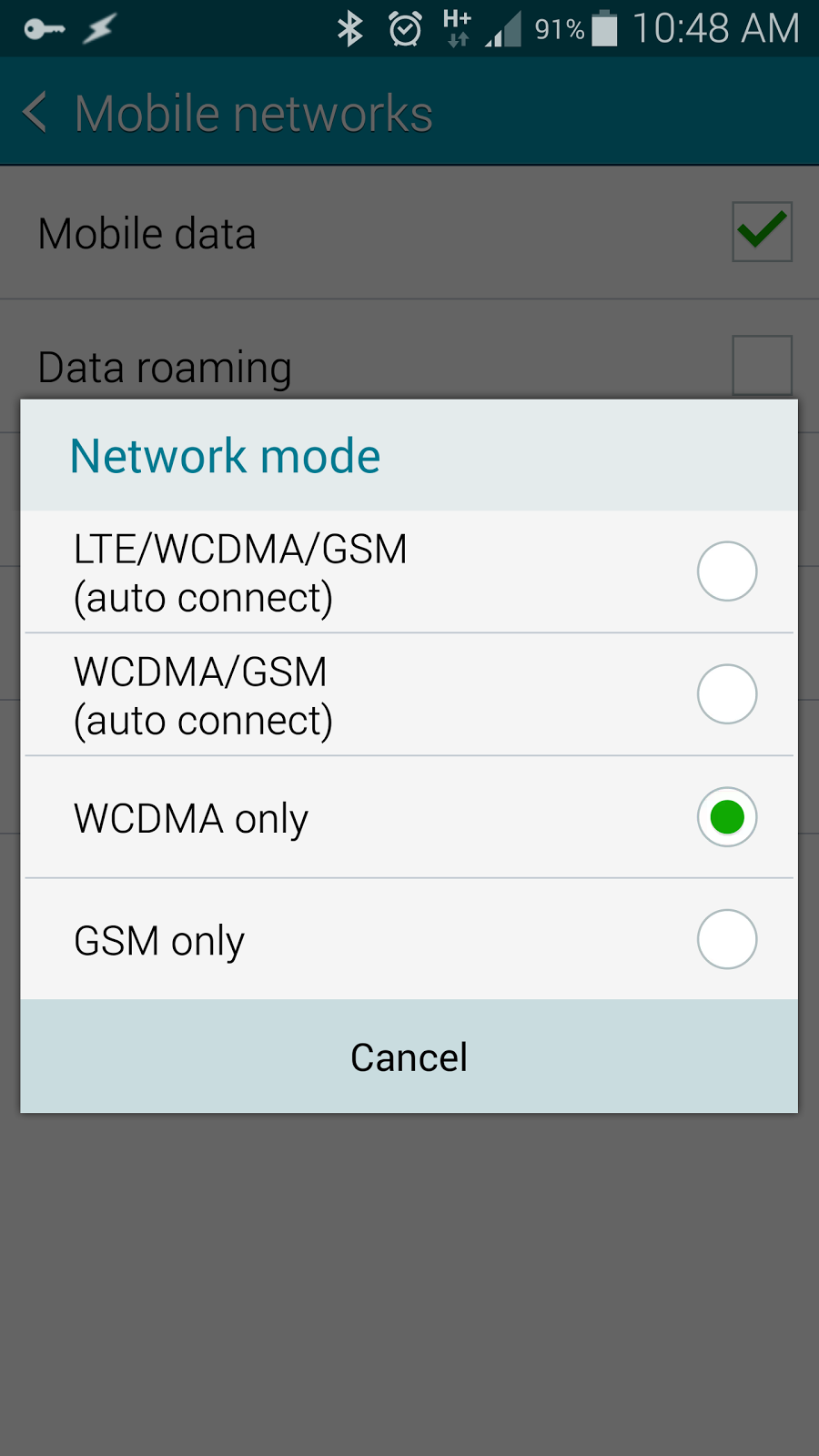 How to force only 4G or LTE network connection for Samsung Galaxy Note 4