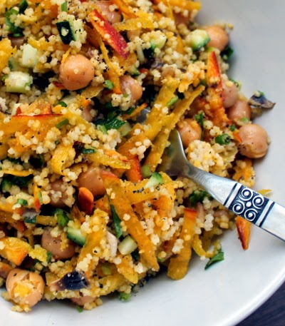 couscous salad with chickpeas, golden beets, and zucchini