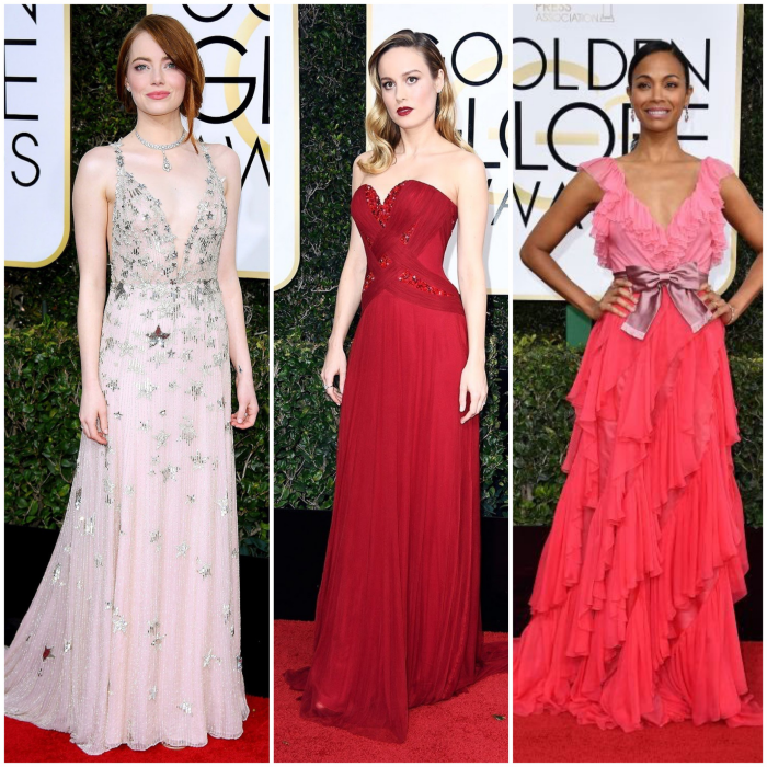 bbloggers, bbloggersca, canadian beauty bloggers, 2017 golden globes, best dressed, celebrities, red carpet, awards season, fashion, style, emma stone, valentino haute couture, brie larson, rodarte, zoe saldana, gucci