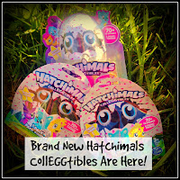Three Hatchimal CollEGGtible Packs with Title Overlaid