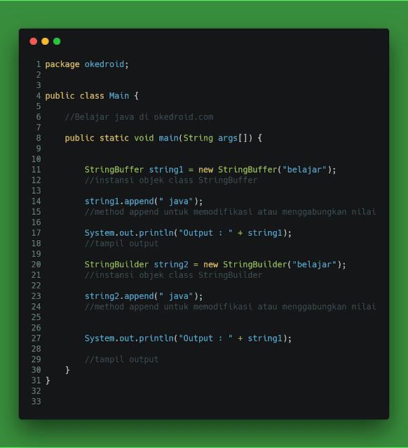 Contoh code sifat mutable di StringBuilder dan StringBuffer Java