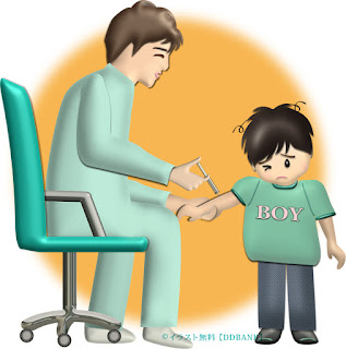 インフルエンザの予防注射をされる子供