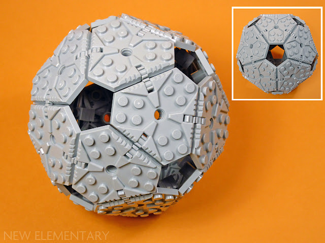 "LEGO icosahedron using part 27255, ""Plate, Modified 6 x 6 Hexagonal with Pin Hole"" or ""Rotor , w/ 4.85 hole, No. 1"" or the ""Combo NEXO Power shield"""