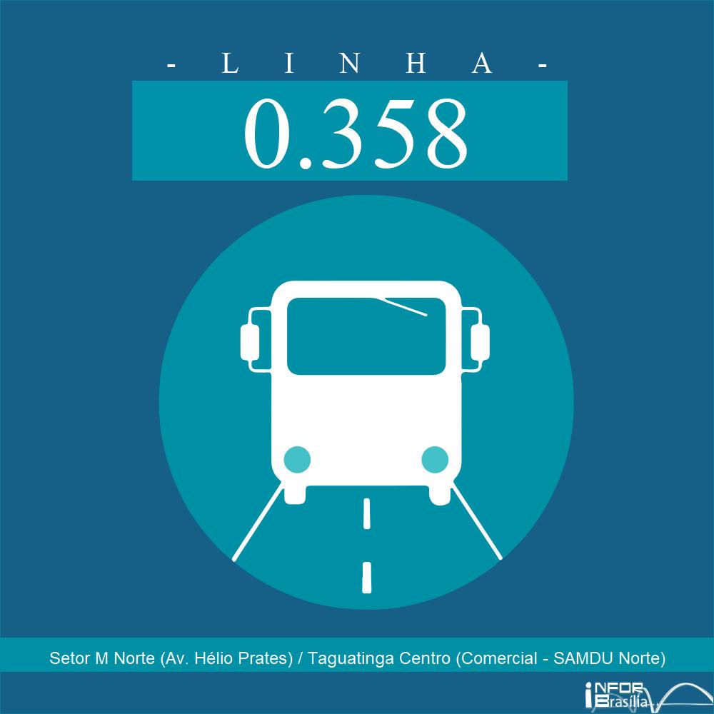 Horário e Itinerário 0.358 - Setor M Norte (Av. Hélio Prates) / Taguatinga Centro (Comercial - SAMDU Norte)