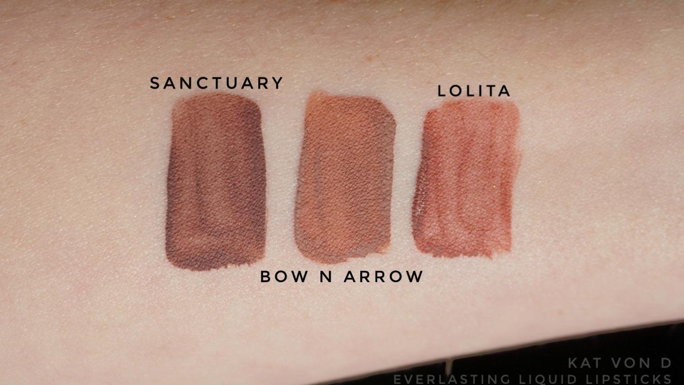 kat von d liquid lipstick swatches sanctuary lolita bow n arrow
