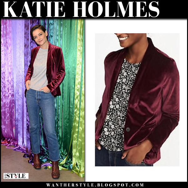 Katie Holmes in burgundy velvet blazer old navy and jeans party event fashion december 9