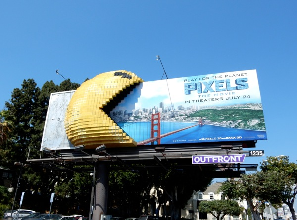 3D Pac-Man Pixels Movie billboard installation