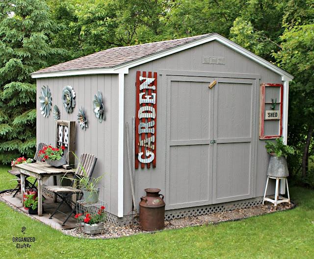 Decorating a Home Depot Shed Kit with JUNK #junkgarden #gardenjunk #flowergarden #containergarden  #stencils #oldsignstencils