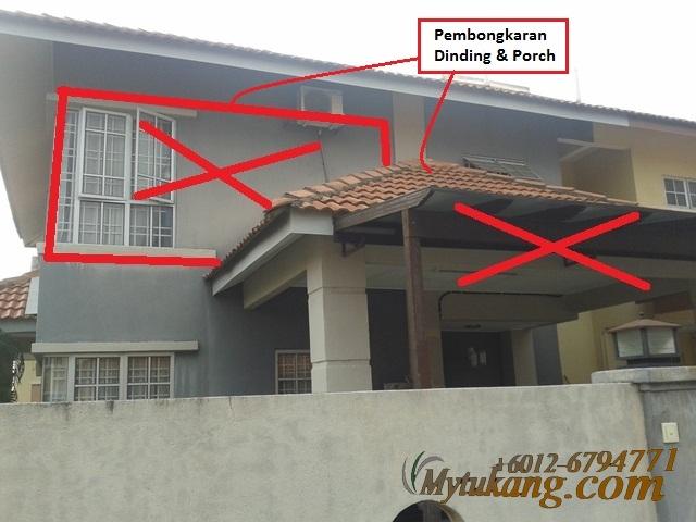 Contoh Ubahsuai Porch Tambahan Rumah Teres 2 Tingkat