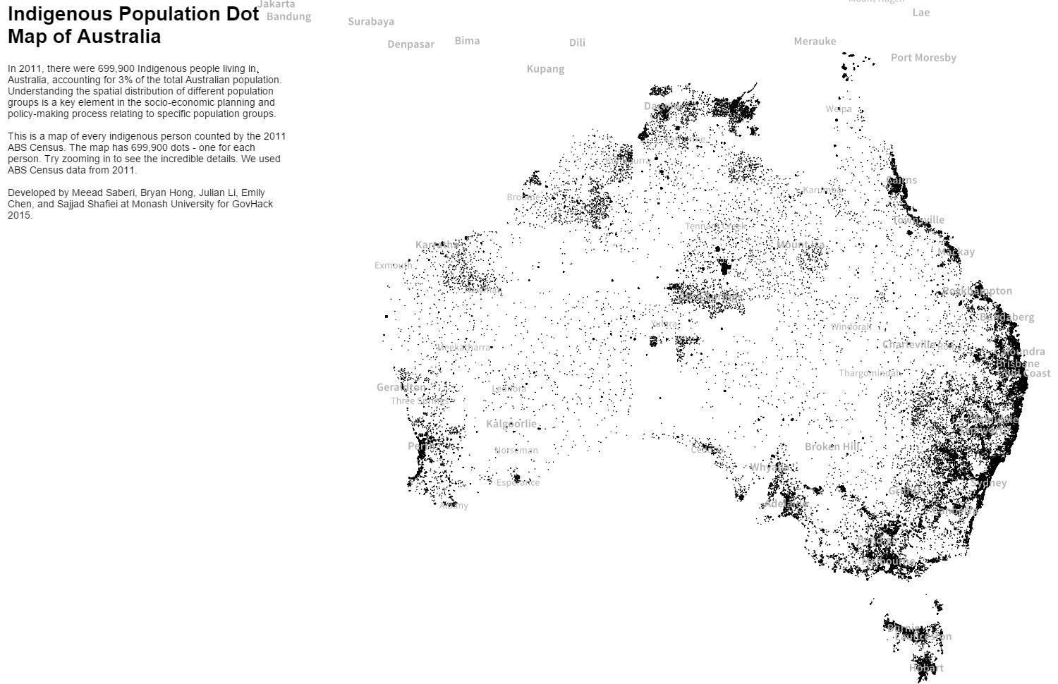 Indigenous population dot map of Australia