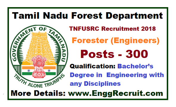 TNFUSRC Recruitment 2018 for Forester