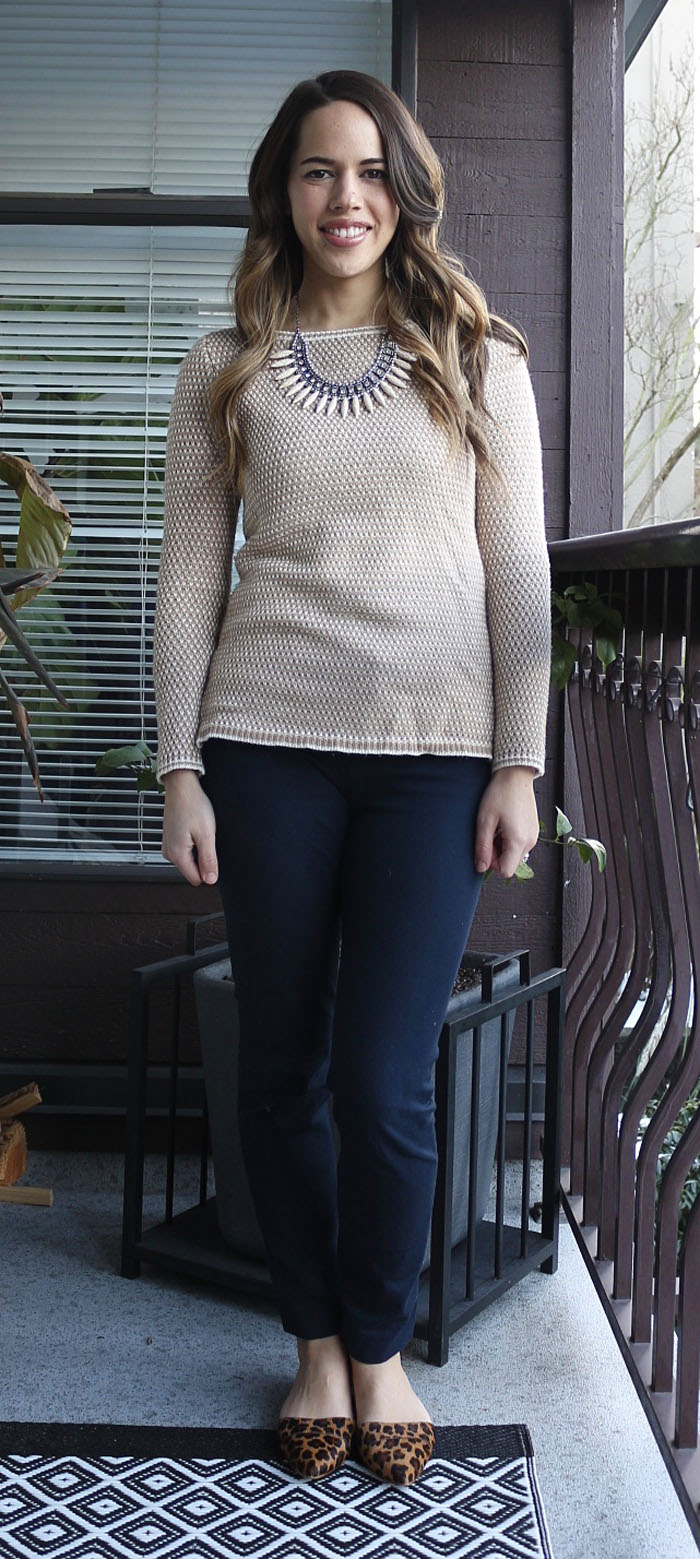 Jules in Flats - J.Crew Sweater, Old Navy Pixie Pants