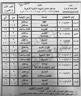 جدول امتحانات الثانوية الازهرية القسم العلمى 2018
