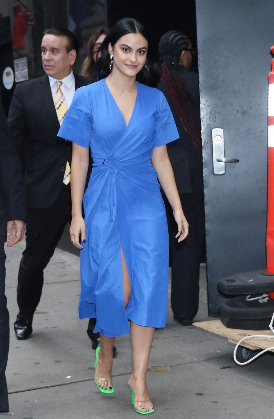 American Model Camila Mendes Stills In Hot blue Dress