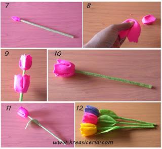 Tutorial bunga tulip dari bahan kain flanel part 2