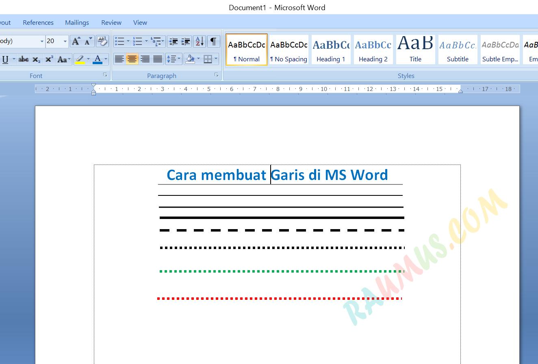 cara membuat garis di ms word