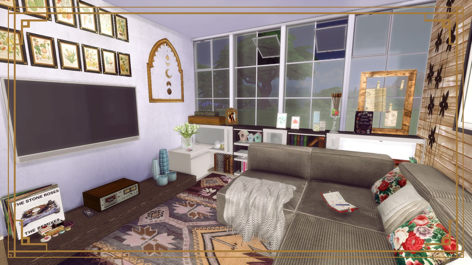 sims 4 cozy living room ii dinha. Black Bedroom Furniture Sets. Home Design Ideas