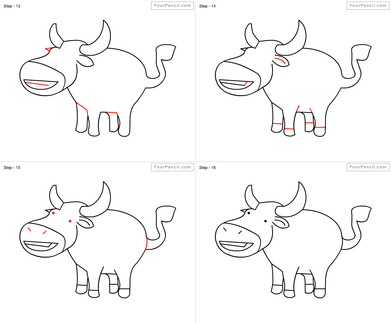 Fpencil How To Draw Buffalo For Kids Step By Step