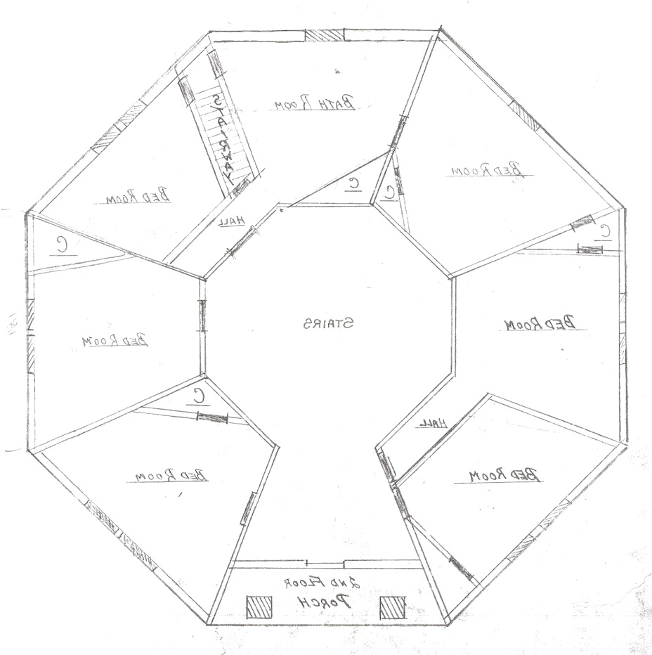 Bummer free zone the octagon for Octagon cabin floor plans