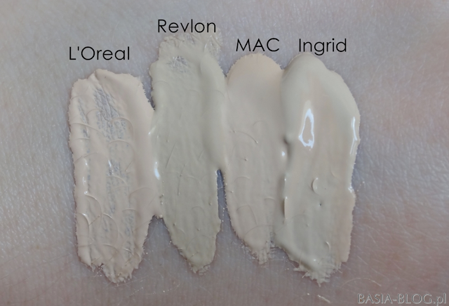 L'Oreal True Match 1N Vanilla (nowa formuła, wersja europejska), Revlon Colorstay Combination/Oily 150 Buff, MAC Pro Longwear Nourishing Waterproof NC15, Ingrid Ideal Face 10 Light Ivory/kość słoniowa