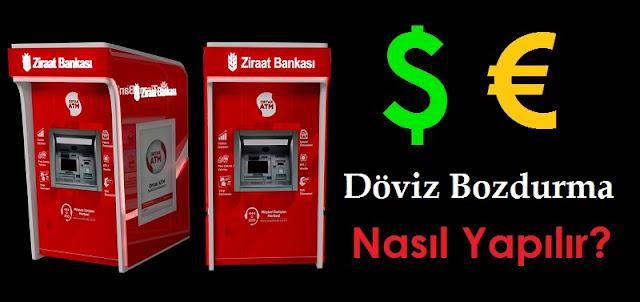 Ziraat Bankası ATM'sinden Döviz Bozdurma
