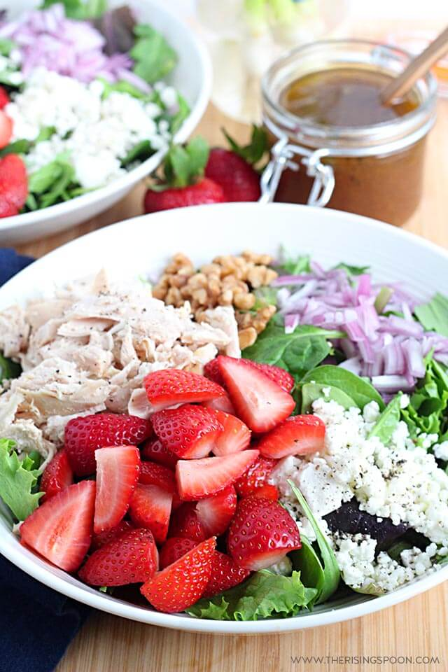 Easy Strawberry Chicken Salad with Maple Balsamic Vinaigrette
