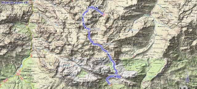 Mapa ruta Urriellu Fuente De por Horcadas Arenizas y Senda del Hachero