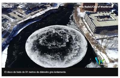 El enorme disco de hielo giratorio que se formó en un río de Estados Unidos y que fascina al mundo