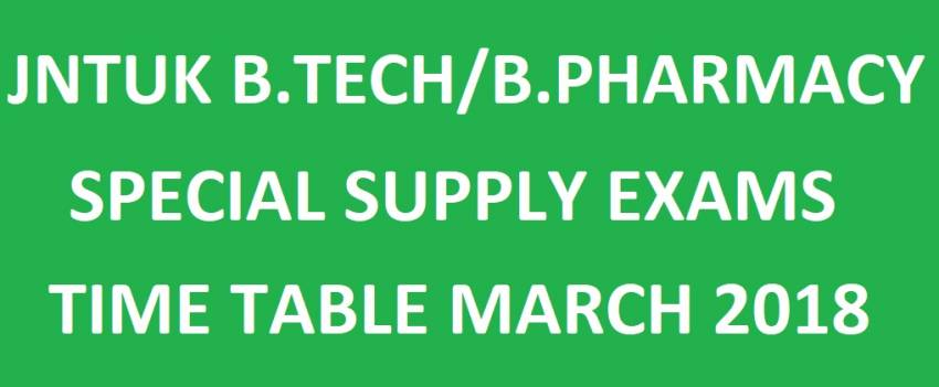 JNTUK B.Tech/B.Pharmacy Special Supply Exam Time Tables