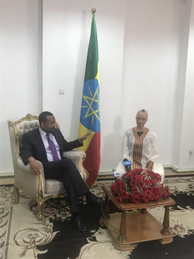 Sophia the robot meets Ethiopian PM