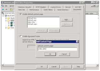 Set index.php as a default document in IIS