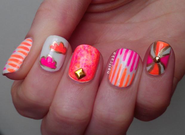 Neon Pink Nail Art Design