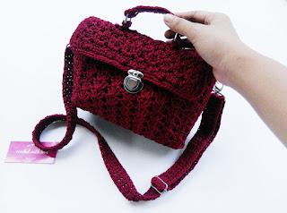 tas rajut, tas slingbag, slingbag rajut, tas rajut tenteng, tas rajut pesta, tas pesta, crochet bag, crochet satchel bag, satchel bag, satchel mini bag