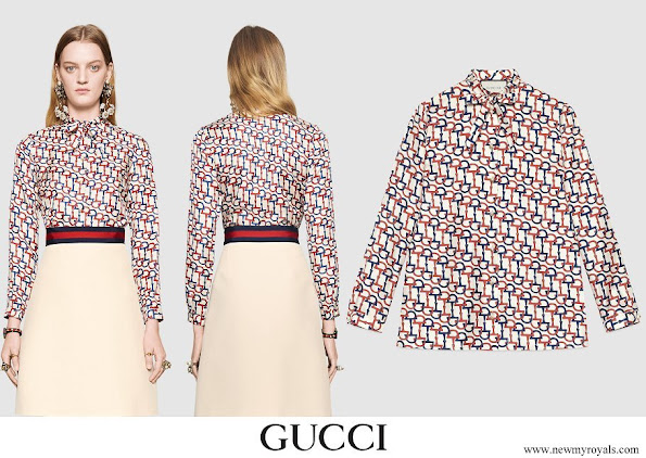 Queen Maxima wore Gucci Horsebit Print Silk Twill Shirt