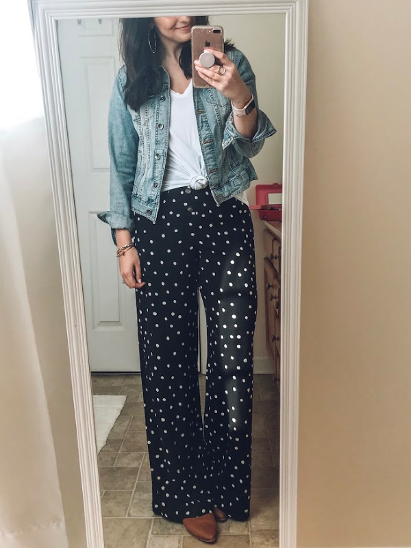 polka dot pants, target style, style challenge, north carolina blogger, style on a budget, mom style, casual outfits