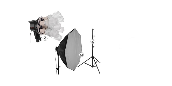 Raya Octa Fluorescent 7 Socket Fixture 2 Light Softbox Kit