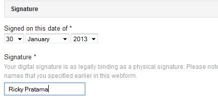 formulir signature dari pengaduan DMCA
